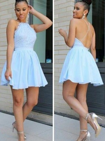 A-line/Princess Short/Mini Chiffon Sleeveless Halter Lace Dresses