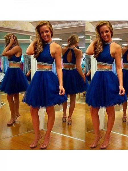 A-Line/Princess Halter Tulle Short/Mini Two Piece Dress