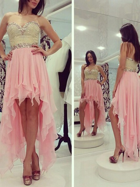A-line/Princess Asymmetrical Chiffon Sleeveless Sweetheart Beading Dresses