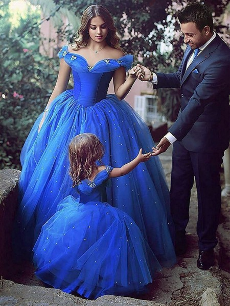 Ball Gown Sleeveless Off-the-Shoulder Tulle Floor-Length Crystal Flower Girl Dresses