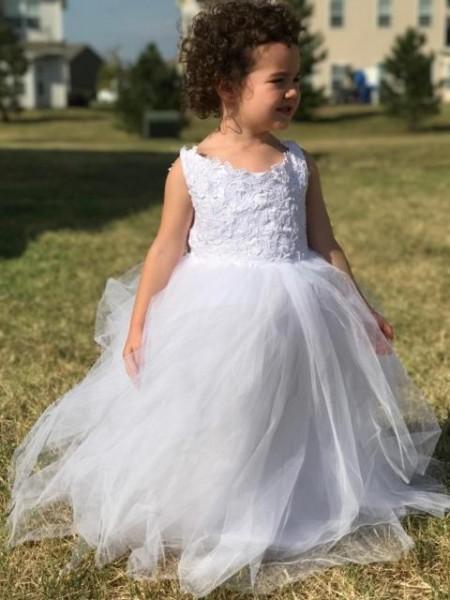 Ball Gown Floor-Length Tulle Sleeveless Jewel Lace Flower Girl Dresses