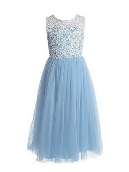 A-Line/Princess Ankle-Length Tulle Sleeveless Jewel Lace Flower Girl Dresses