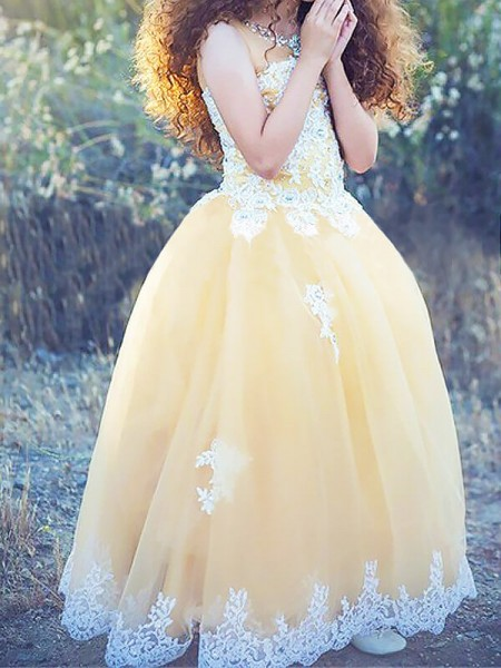 Ball Gown Floor-Length Tulle Sleeveless Jewel Applique Flower Girl Dresses