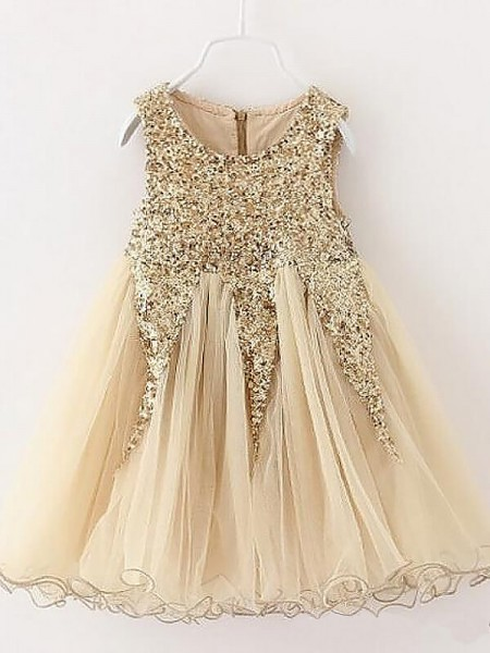 A-Line/Princess Short/Mini Tulle Sleeveless Jewel Sequins Flower Girl Dresses