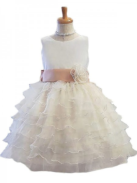 A-Line/Princess Short/Mini Tulle Sleeveless Jewel Hand-Made Flower Flower Girl Dresses