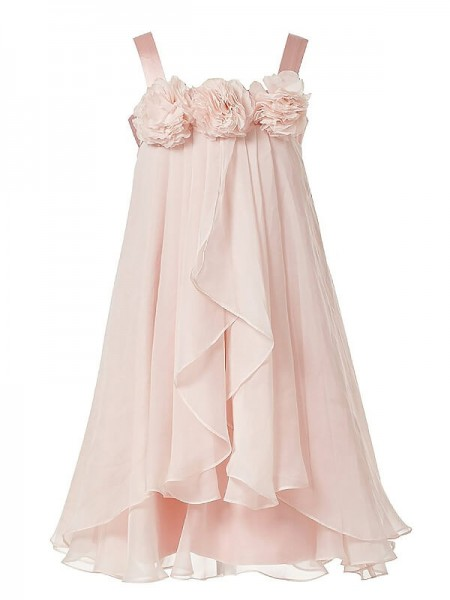 A-Line/Princess Tea-Length Chiffon Sleeveless Straps Hand-Made Flower Flower Girl Dresses