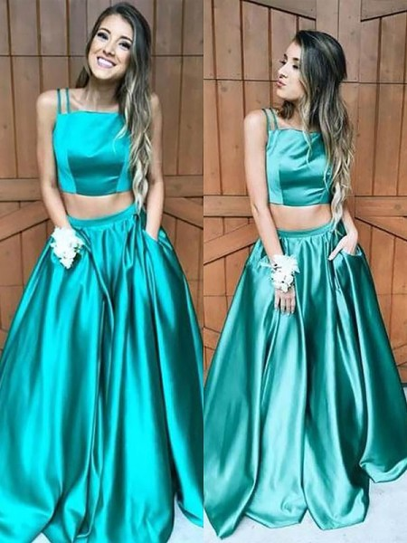 A-Line/Princess Floor-Length Satin Sleeveless Square Ruffles Dresses