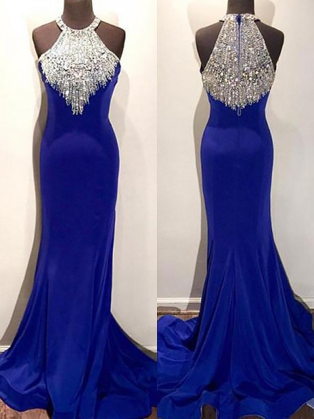 Trumpet/Mermaid Sweep/Brush Train Satin Sleeveless Halter Beading Dresses
