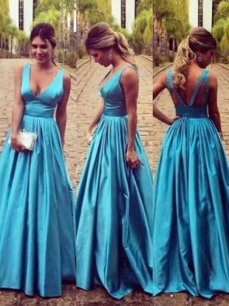 A-Line/Princess Sweep/Brush Train Elastic Woven Satin Sleeveless V-neck Ruched Dresses