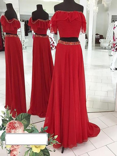 A-Line/Princess Floor-Length Chiffon Sleeveless Off-the-Shoulder Beading Dresses