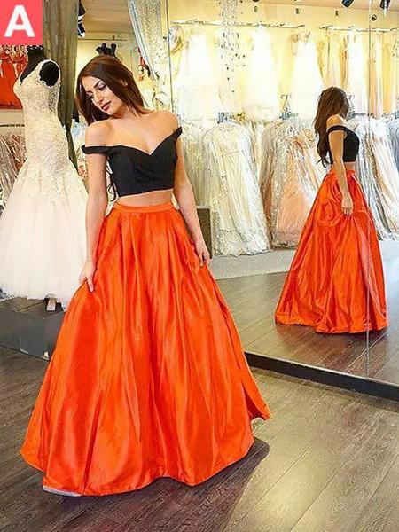 A-Line/Princess Floor-Length Taffeta Sleeveless Off-the-Shoulder Ruffles Dresses