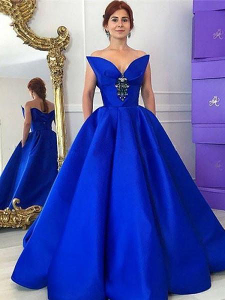 Ball Gown Floor-Length Satin Sleeveless V-neck Ruffles Dresses
