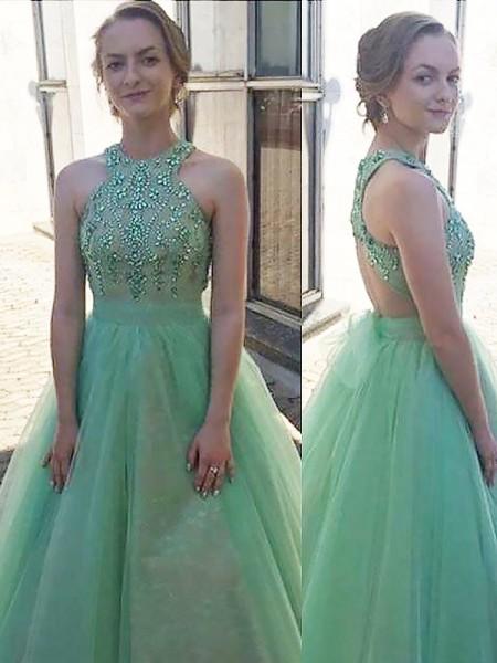 Ball Gown Halter Beading Floor-Length Tulle Dress