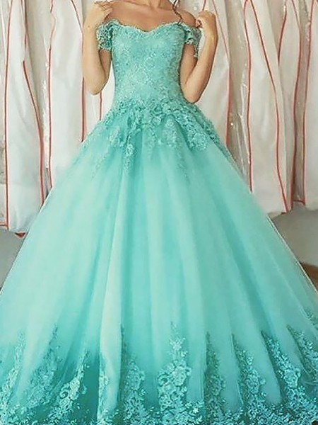 Ball Gown Floor-Length Tulle Sleeveless Off-the-Shoulder Applique Dresses