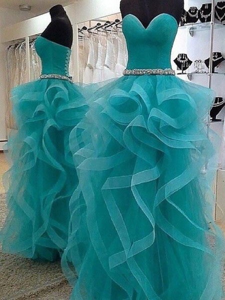 Ball Gown Floor-Length Organza Sleeveless Sweetheart Beading Dresses