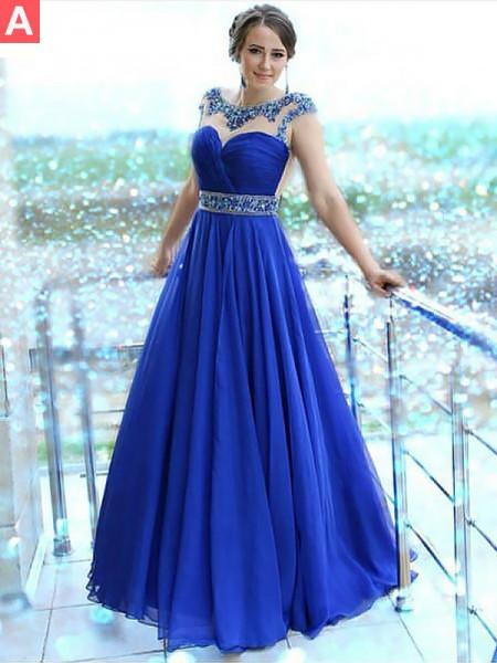 A-Line/Princess Floor-Length Chiffon Sleeveless Bateau Beading Dresses