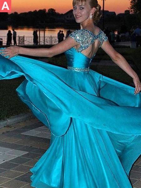 A-Line/Princess Floor-Length Chiffon Sleeveless Jewel Beading Dresses