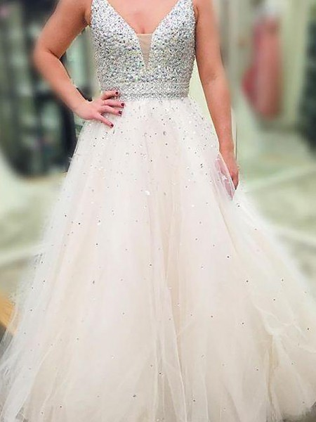 A-Line/Princess Floor-Length Tulle Sleeveless V-neck Beading Dresses