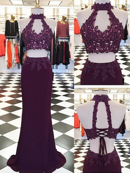 Sheath/Column Floor-Length Spandex Sleeveless Halter Applique Dresses