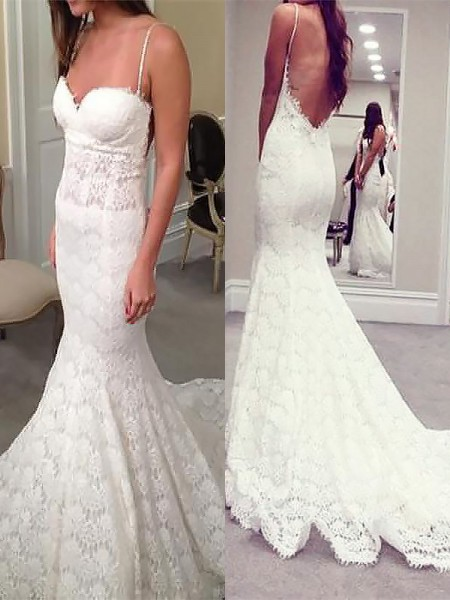 Trumpet/Mermaid Court Train Lace Sleeveless Spaghetti Straps Wedding Dresses