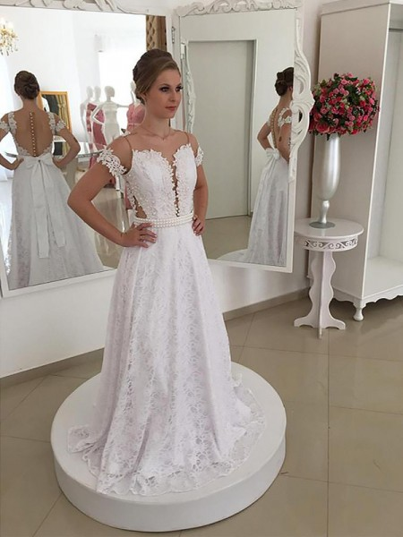 A-Line/Princess Sweep/Brush Train Lace Short Sleeves Scoop Wedding Dresses
