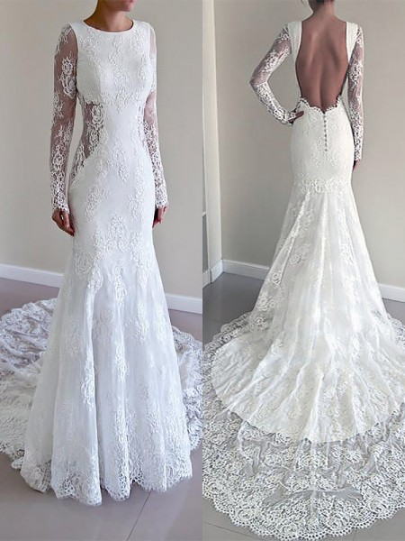 Trumpet/Mermaid Court Train Lace Long Sleeves Scoop Wedding Dresses