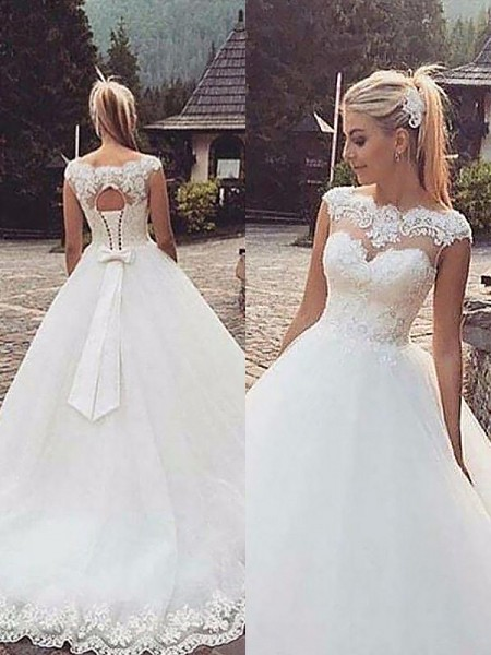Ball Gown Court Train Tulle Sleeveless Bateau Wedding Dresses