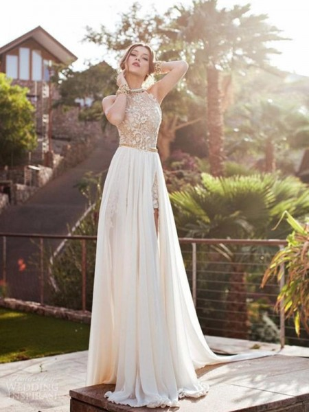 A-Line/Princess Sweep/Brush Train Chiffon Sleeveless Halter Lace Dresses