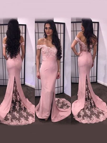Trumpet/Mermaid Sweep/Brush Train Satin Long Sleeves Off-the-Shoulder Lace Dresses