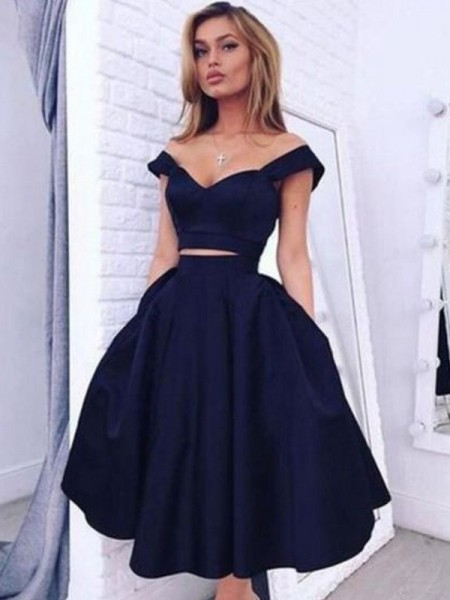 A-line/Princess Tea-Length Taffeta Sleeveless Off-the-Shoulder Dresses