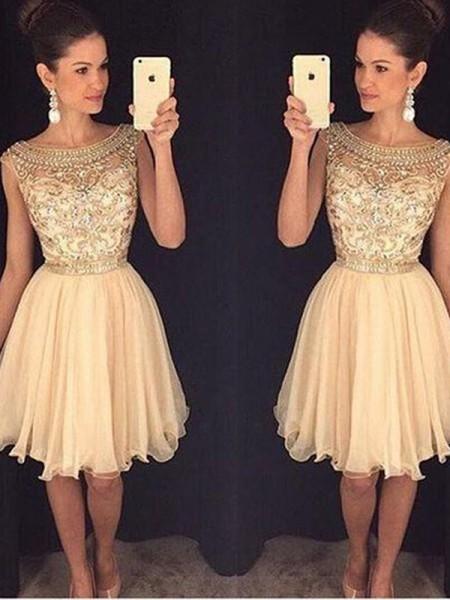 A-line/Princess Short/Mini Chiffon Sleeveless Scoop Beading Dresses