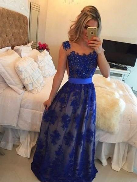 Sheath/Column Floor-Length Tulle Sleeveless Scoop Applique Dresses