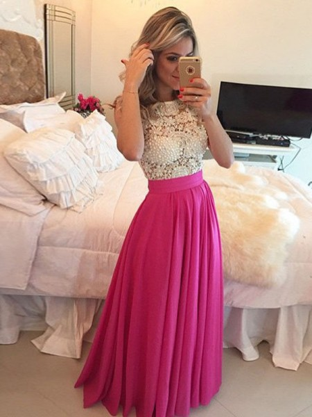 A-Line/Princess Floor-Length Chiffon Sleeveless Scoop Lace Dresses