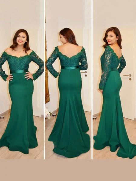 Trumpet/Mermaid Floor-Length Satin Long Sleeves Off-the-Shoulder Applique Dresses