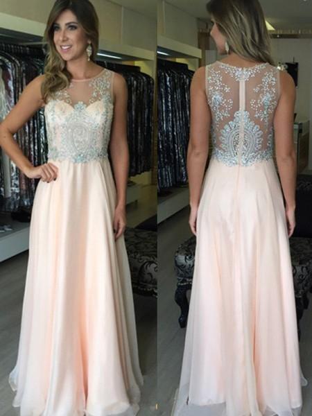 A-Line/Princess Floor-Length Chiffon Sleeveless Scoop Beading Dresses