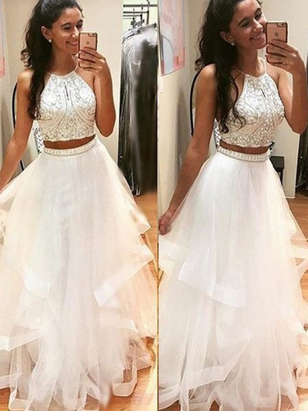 A-Line/Princess Floor-Length Tulle Sleeveless Halter Beading Dresses
