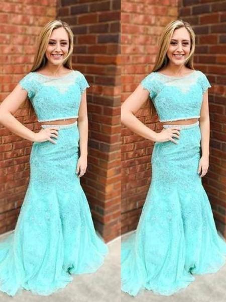Trumpet/Mermaid Sweep/Brush Train Lace Short Sleeves Scoop Beading Dresses