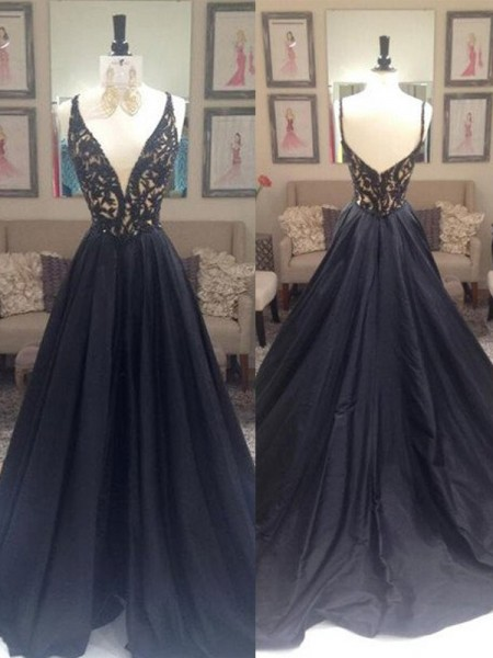 A-Line/Princess Sweep/Brush Train Taffeta Sleeveless V-neck Beading Dresses