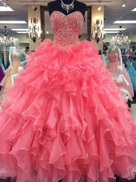 Ball Gown Floor-Length Organza Sleeveless Sweetheart Beading Dresses