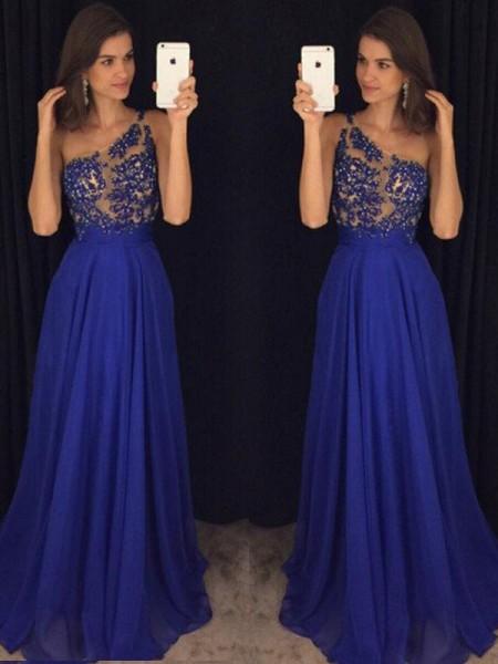A-Line/Princess Floor-Length Chiffon Sleeveless One-Shoulder Beading Dresses