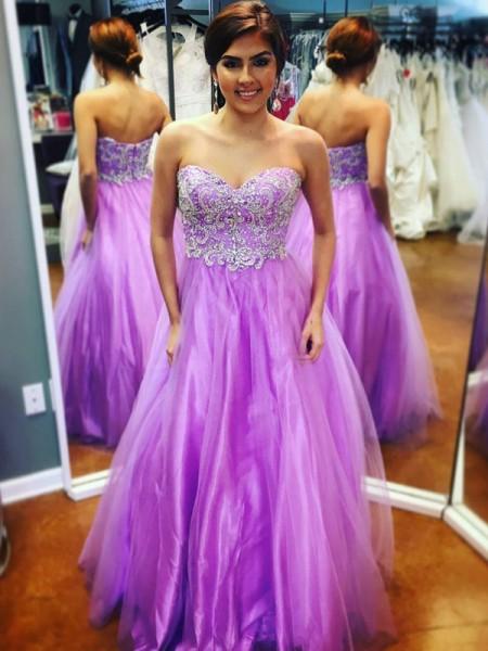 A-Line/Princess Floor-Length Tulle Sleeveless Sweetheart Applique Dresses