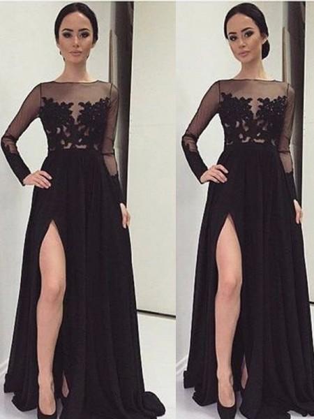 A-Line/Princess Floor-Length Chiffon Long Sleeves Bateau Lace Dresses