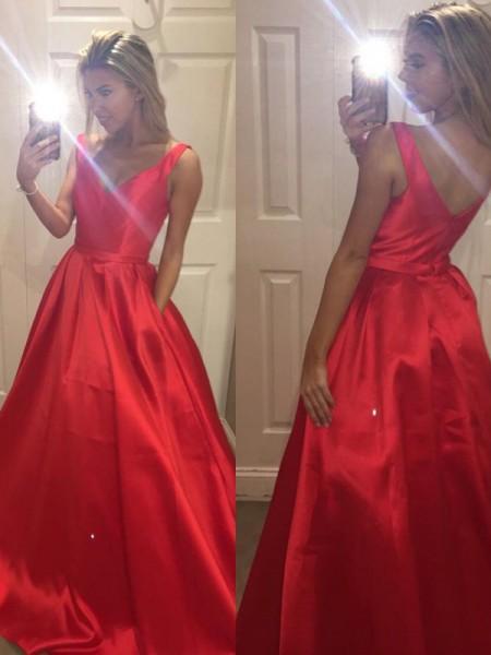 A-Line/Princess Sweep/Brush Train Satin Sleeveless V-Neck Dresses