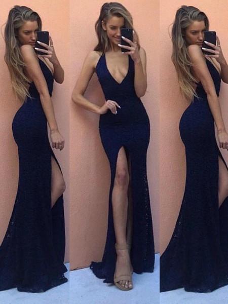 Sheath/Column Floor-Length Satin Sleeveless V-Neck Dresses
