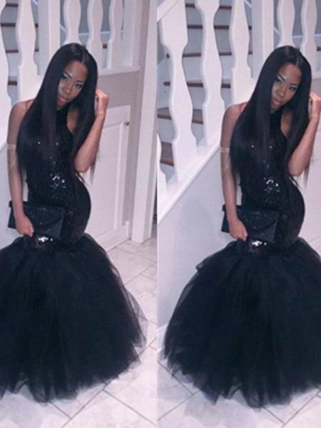 Trumpet/Mermaid Floor-Length Tulle Sleeveless Halter Sequin Dresses