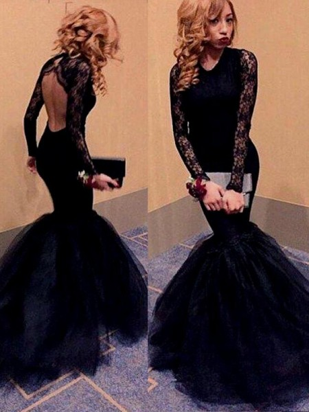Trumpet/Mermaid Sweep/Brush Train Tulle Long Sleeves Scoop Lace Dresses