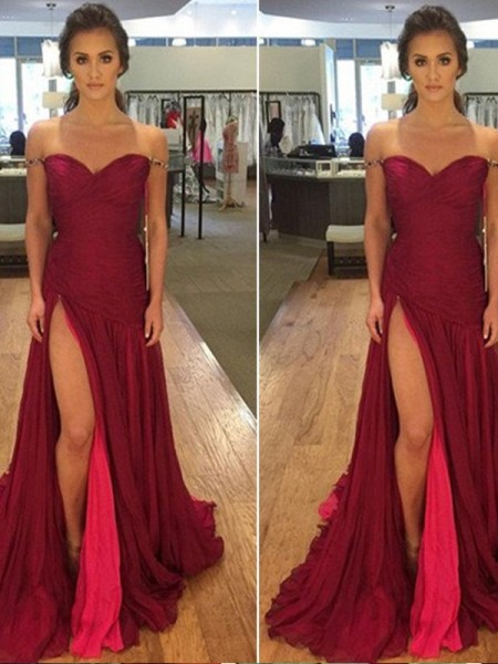 A-Line/Princess Floor-Length Chiffon Sleeveless Off-the-Shoulder Dresses