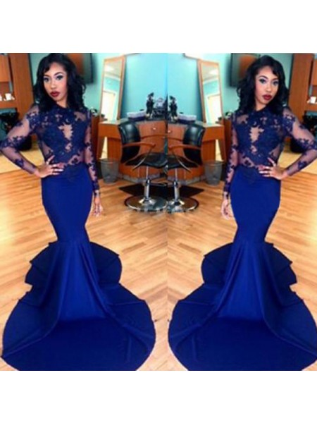 Trumpet/Mermaid Sweep/Brush Train Satin Long Sleeves Scoop Lace Dresses