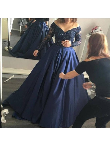 Ball Gown Sweep/Brush Train Satin Long Sleeves Off-the-Shoulder Beading Dresses