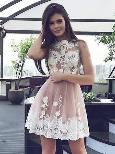 A-line/Princess Short/Mini Chiffon Sleeveless Scoop Lace Dresses